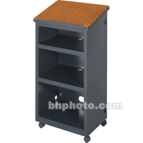 "Bretford Mobile Lectern w/ 2"" Twin-Wheel Casters (24.0 x 16.0 x 45.0"") - Raven Base w/ a Wild Cherry Top"