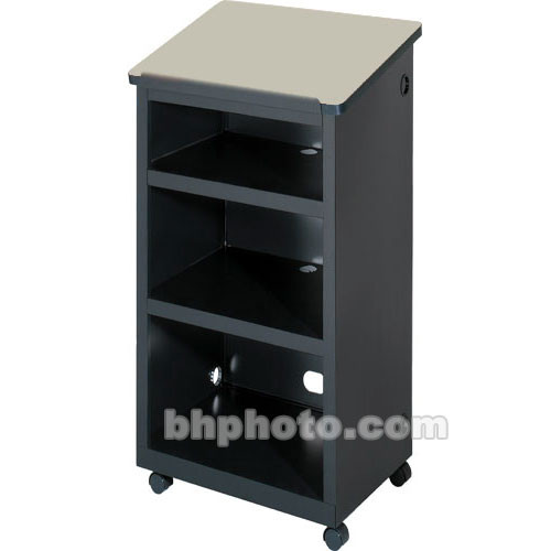 "Bretford Mobile Lectern w/ 2"" Twin-Wheel Casters (24.0 x 16.0 x 45.0"") - Raven Base w/ a Grey Mist Top"
