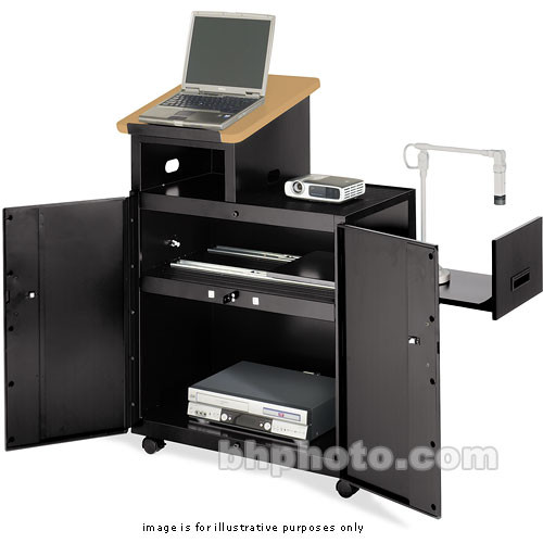 Bretford Multimedia Lectern w/ Storage & Support for Data Projector (Bannister Oak Laminate / Raven Paint)