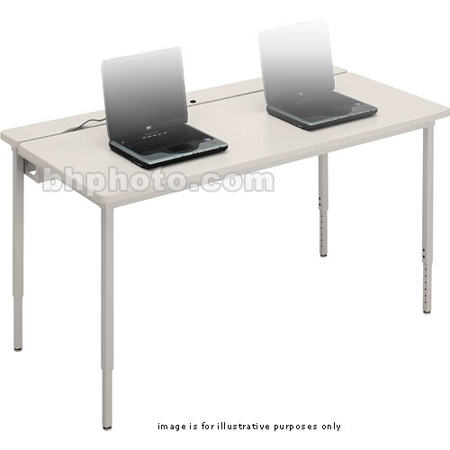 "Bretford Quattro Voltea Computer Table-30 x 24"" (Grey Mist with Quartz Trim )"