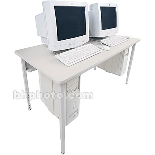 "Bretford 48 x 24"" Quattro Computer Table - Gray w/ Quartz"