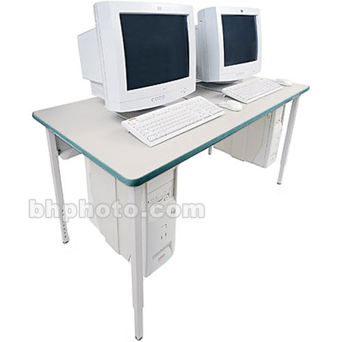 "Bretford 84 x 24"" Quattro Computer Table - Grey w/ Polo"