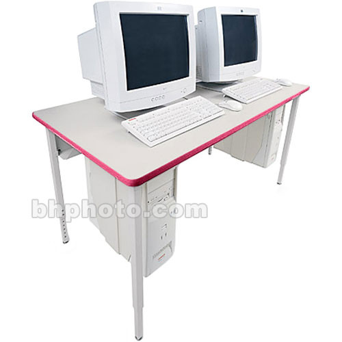 "Bretford 60 x 30"" Quattro Computer Table for Two Computers (Gray Mist/Cardinal)"