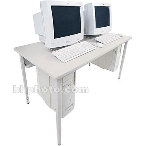 "Bretford 60 x 30"" Quattro Computer Table for Two Computers (Gray Mist/Quartz)"