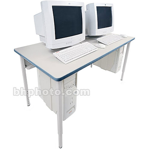 "Bretford 60 x 30"" Quattro Computer Table for Two Computers (Gray Mist/Topaz)"