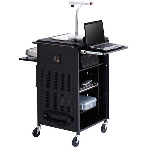 "Bretford TCP23FF-CTMBT Antimicrobial PAL Multimedia Cart With Electrical Assembly (25.5 x 42 x 23.75"", Concrete)"