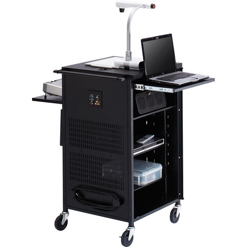 """Bretford TCP23FF-GM Antimicrobial PAL Multimedia Cart With 12-Outlet Electrical Unit (25.5 x 42 x 23.75"""", Grey Mist)"""