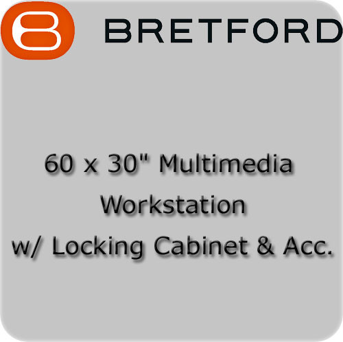 "Bretford 60 x 30"" Multimedia Workstation w/ Locking Cabinet & Acc."