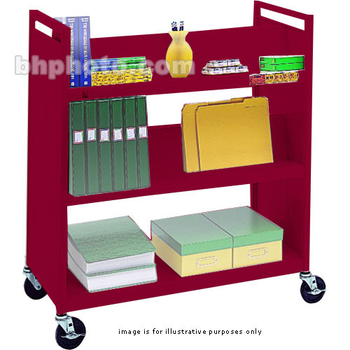 "Bretford VF336-CD5 Book and Utility Truck with Four Slanted Shelves, One Flat Shelf, and 5"" Casters (Cardinal)"