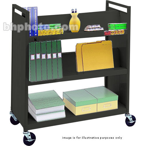 "Bretford VF336-RN5 Book and Utility Truck with Four Slanted Shelves, One Flat Shelf, and 5"" Casters (Raven)"