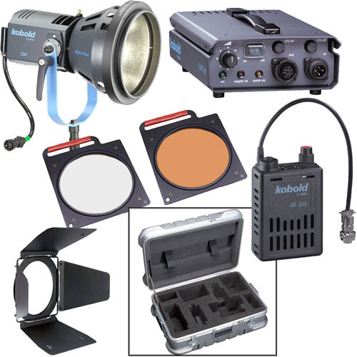 Bron Kobold DW200 Open Face HMI AC/DC Kit with Flight Case (90-265VAC/26-34VDC)