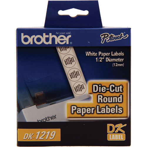 """Brother DK1219 Round Paper Labels (1/2"""", 1200 Labels)"""