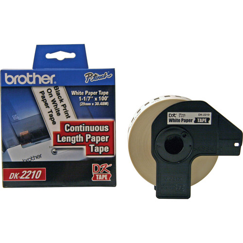 "Brother DK2210 1.1"" Black Print On White Tape (100'/30.4 m)"