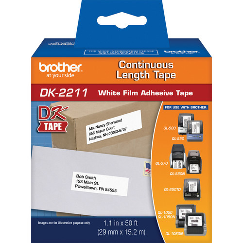 "Brother DK2211 1.1"" Black Print On White Tape (50'/15.2 m)"
