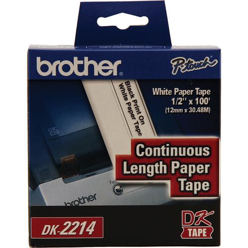 "Brother Black Print on White Tape (1/2"" x 100')"