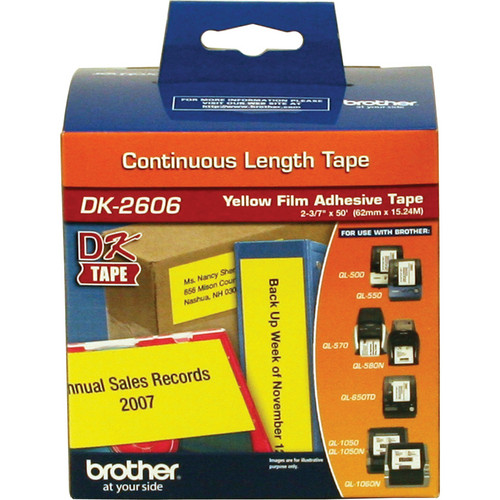 "Brother DK2606 2.4"" Black Print On Yellow Tape (50'/15.2 m)"