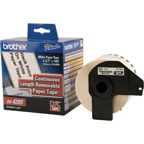 "Brother DK4205 2.4"" Black Print On White Tape (100'/30.4 m)"