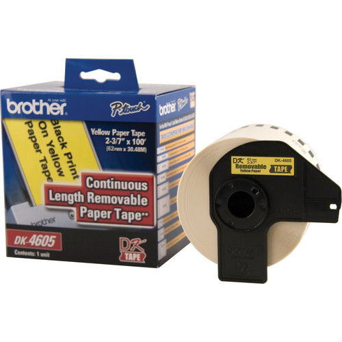 "Brother DK4605 2.4"" Black Print On Yellow Tape (100'/30.4 m)"