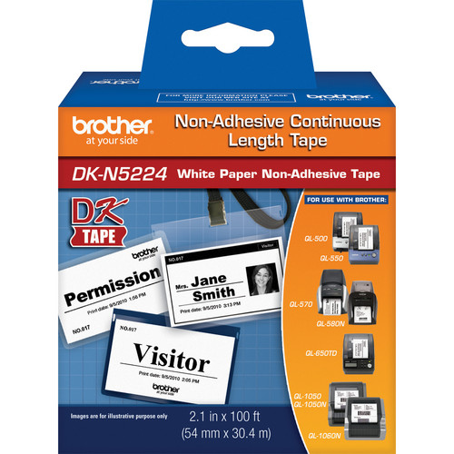 "Brother DKN5224 2.1"" Black Print On White Tape (100'/30.4 m)"