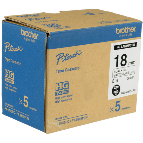 Brother Polyester Labels (18mm x 8 m Roll, Black Ink on Matte Silver Labels, 5 Rolls)