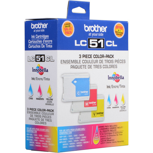Brother LC-51C, LC-51Y & LC-51M Color Ink Cartridges (3 Pack)