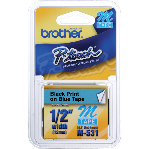 "Brother 0.47"" Black on Blue ""M"" Labeling Tape (26.2', One Roll)"