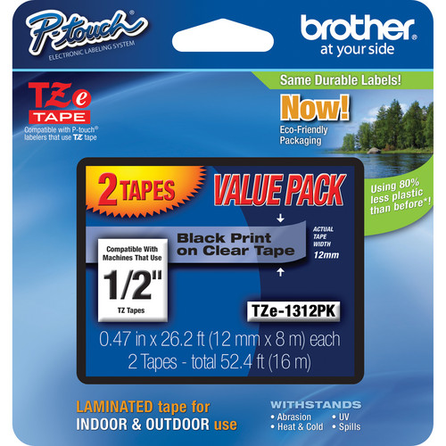"""Brother Laminated Tape for P-Touch Labelers (Black on Clear, 1/2"""" x 26.2', 2-Pack)"""