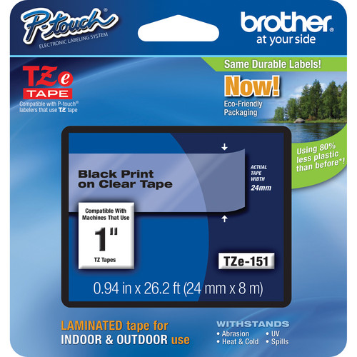 "Brother TZe151 Laminated Tape for P-Touch Labelers (Black on Clear, 0.94"" x 26.2')"