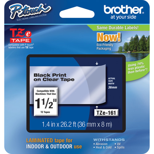 """Brother TZe161 Laminated Tape for P-Touch Labelers (Black on Clear, 1.5"""" x 26.2')"""