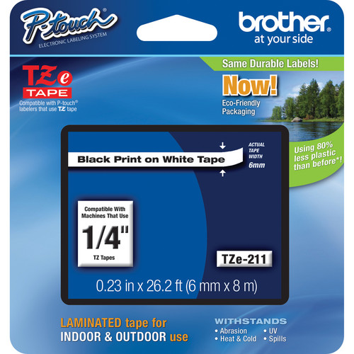 "Brother TZe211 Laminated Tape for P-Touch Labelers (Black on White, 1/4"" x 26.2')"
