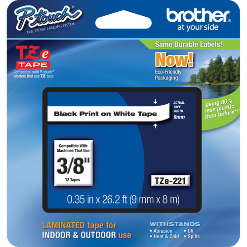 """Brother TZe221 Laminated Tape for P-Touch Labelers (Black on White, 3/8"""" x 26.2')"""