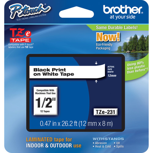 "Brother TZe231 Laminated Tape for P-Touch Labelers (Black on White, 1/2"" x 26.2')"