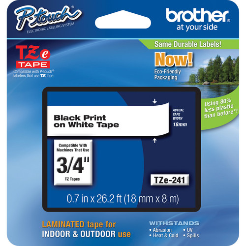 "Brother TZe241 Laminated Tape for P-Touch Labelers (Black on White, 0.7"" x 26.2')"