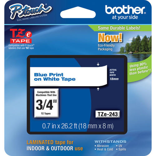"""Brother TZe243 Laminated Tape for P-Touch Labelers (Blue on White, 3/4"""" x 26.2')"""