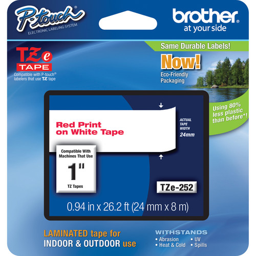 """Brother TZe252 Laminated Tape for P-Touch Labelers (Red on White, 0.94"""" x 26.2')"""