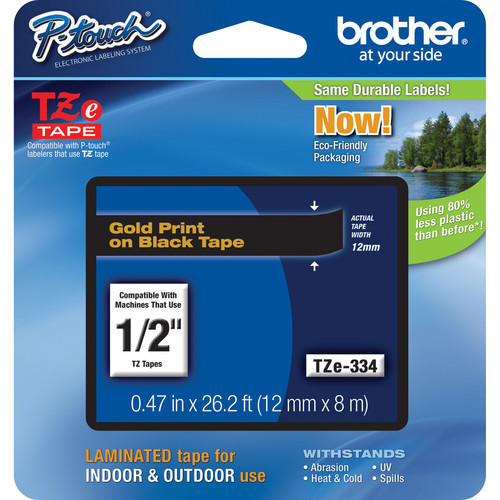 """Brother TZe334 Laminated Tape for P-Touch Labelers (Gold on Black, 0.47"""" x 26.2')"""