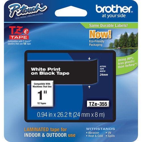 "Brother TZe355 Laminated Tape for P-Touch Labelers (White on Black, 0.94"" x 26.2')"