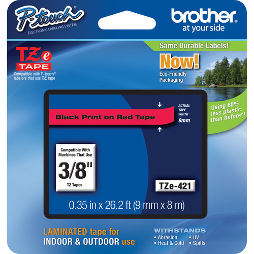 """Brother TZe421 Laminated Tape for P-Touch Labelers (Black on Red, 0.35"""" x 26.2')"""