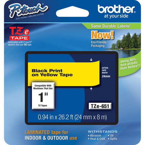 "Brother TZe651 Laminated Tape for P-Touch Labelers (Black on Yellow, 0.94"" x 26.2')"