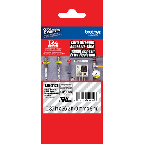 "Brother TZeS121 Tape with Extra-Strength Adhesive for P-Touch Labelers (Black on Clear, 0.35"" x 26.2')"
