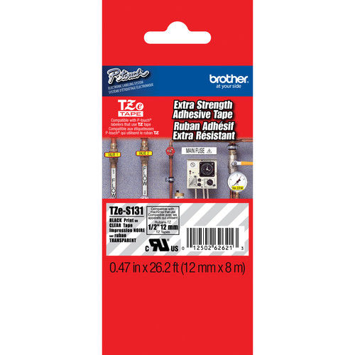 "Brother TZeS131 Tape with Extra-Strength Adhesive for P-Touch Labelers (Black on Clear, 0.47"" x 26.2')"