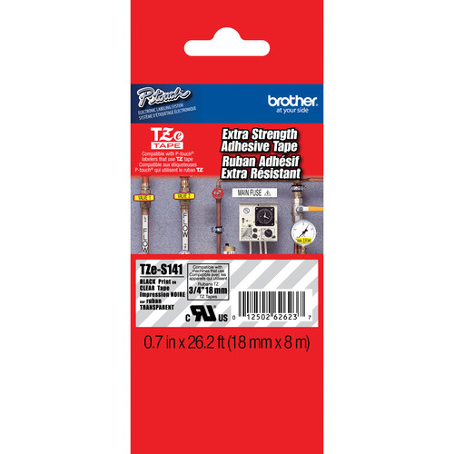 "Brother TZeS141 Tape with Extra-Strength Adhesive for P-Touch Labelers (Black on Clear, 0.7"" x 26.2')"