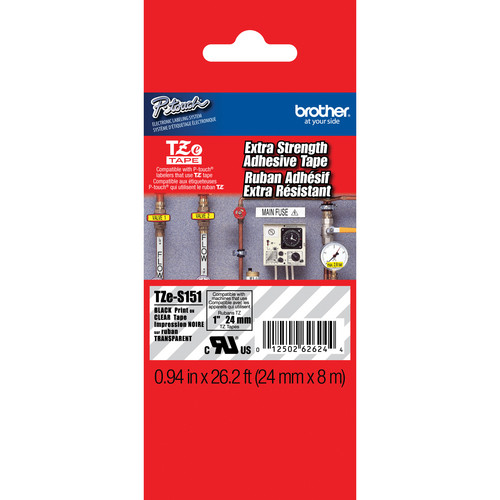 "Brother TZeS151 Tape with Extra-Strength Adhesive for P-Touch Labelers (Black on Clear, 0.94"" x 26.2')"