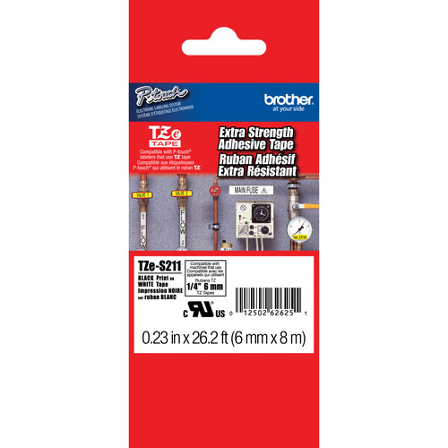 """Brother TZeS211 Tape with Extra-Strength Adhesive for P-Touch Labelers (Black on White, 0.23"""" x 26.2')"""