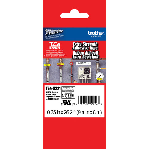 """Brother TZeS221 Tape with Extra-Strength Adhesive for P-Touch Labelers (Black on White, 0.35"""" x 26.2')"""