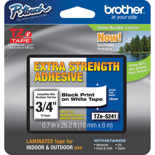 "Brother TZeS241 Tape with Extra-Strength Adhesive for P-Touch Labelers (Black on White, 0.7"" x 26.2')"