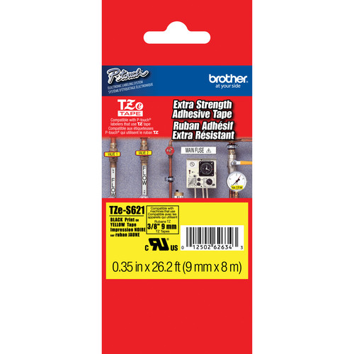 "Brother TZeS621 Tape with Extra-Strength Adhesive for P-Touch Labelers (Black on Yellow, 0.35"" x 26.2')"