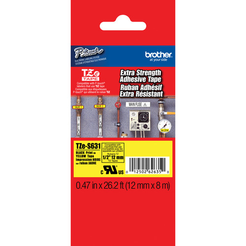 "Brother TZeS631 Tape with Extra-Strength Adhesive for P-Touch Labelers (Black on Yellow, 0.47"" x 26.2')"