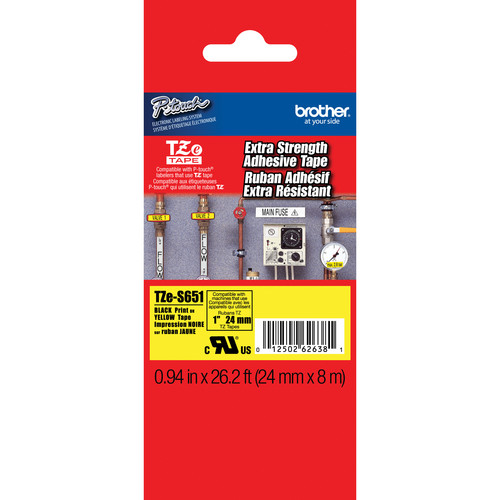 "Brother TZeS651 Tape with Extra-Strength Adhesive for P-Touch Labelers (Black on Yellow, 0.94"" x 26.2')"