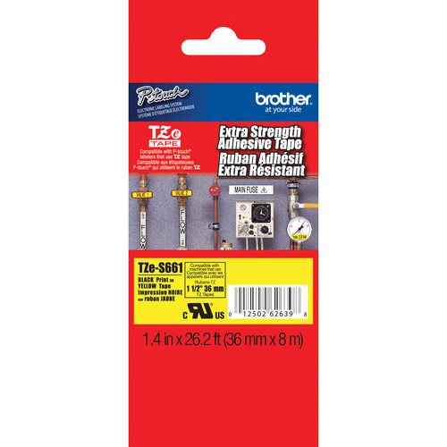 "Brother TZeS661 Tape with Extra-Strength Adhesive for P-Touch Labelers (Black on Yellow, 1.4"" x 26.2')"